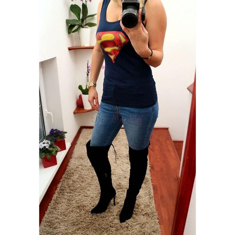 02541fbbb6dc Dámske tmavo modré tielko s logom Superman