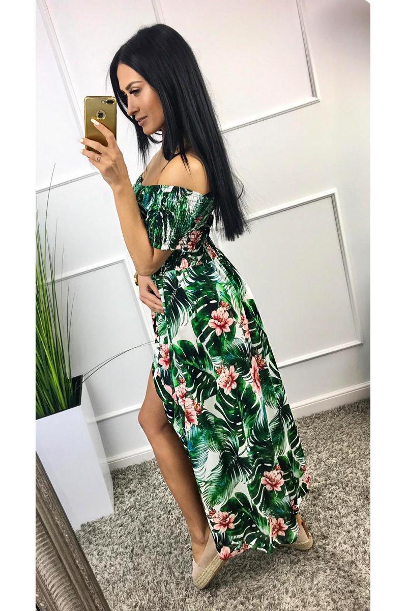 e60e10f03f Dlhé kvietkované šaty v zelenej farbe na leto