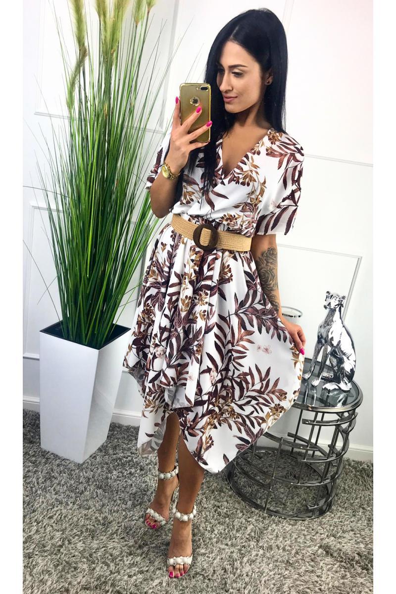 d1d6a9f6c08e novinka Dámske krátke šaty s potlačou tropických listov