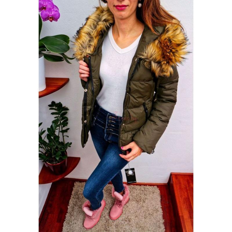 42fa954f006b akcia Khaki dámska zimná bunda s kožušinou
