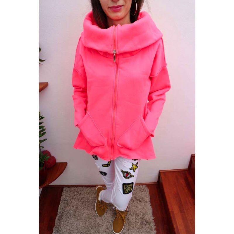 5d6727f8226b akcia Ružová dámska mikina s kapucňou na zips