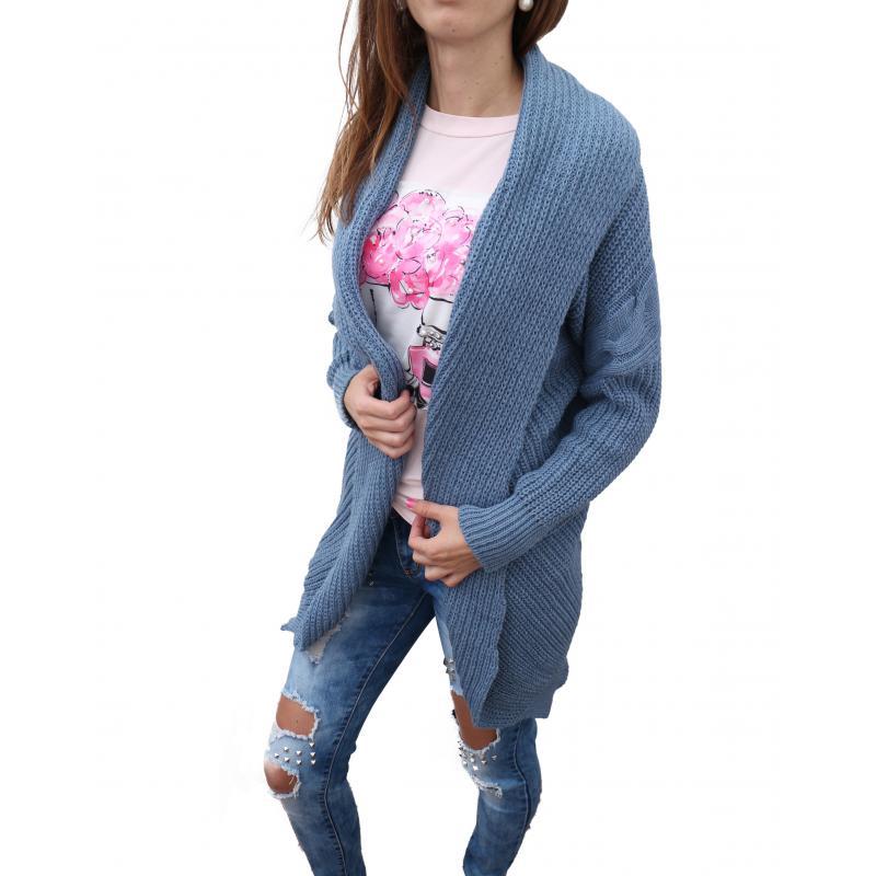 6c2bf7a0d2bb Dámsky dlhý sveter v modrej farbe