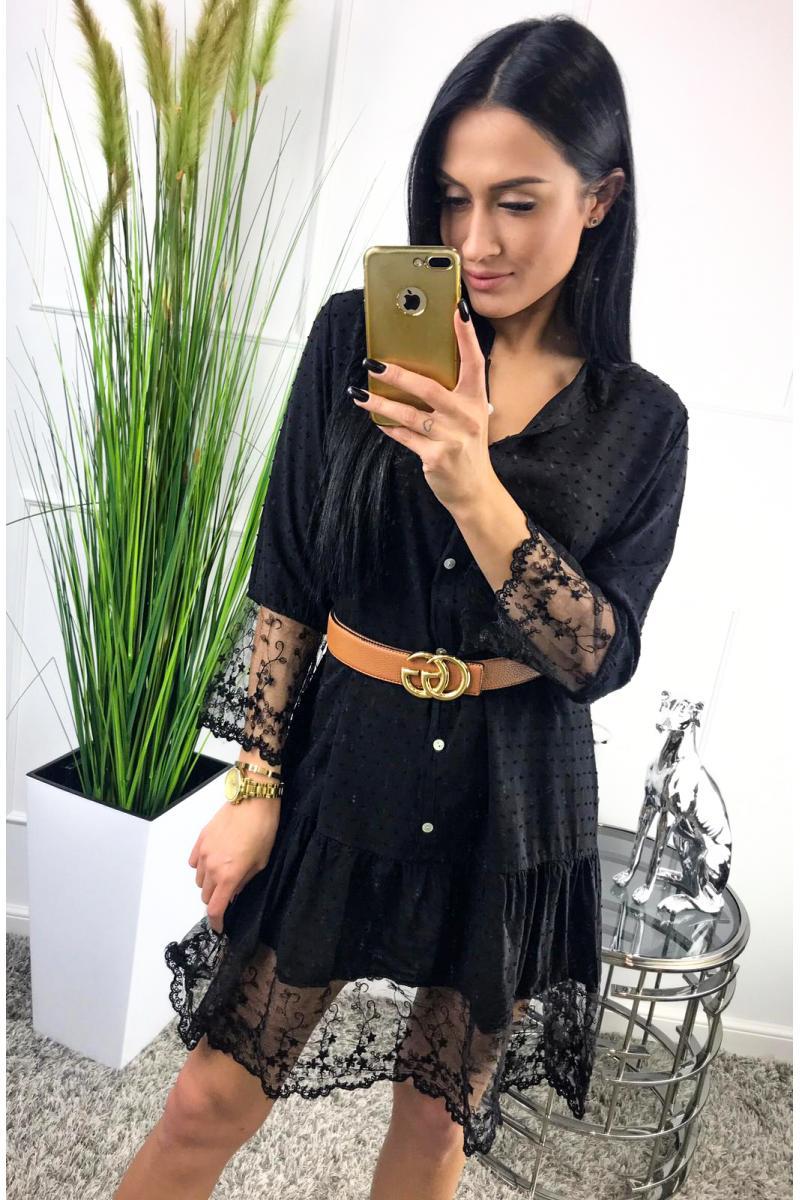58e5203614af novinka Krátke čierne šaty s cipkou na rukáve a sukni