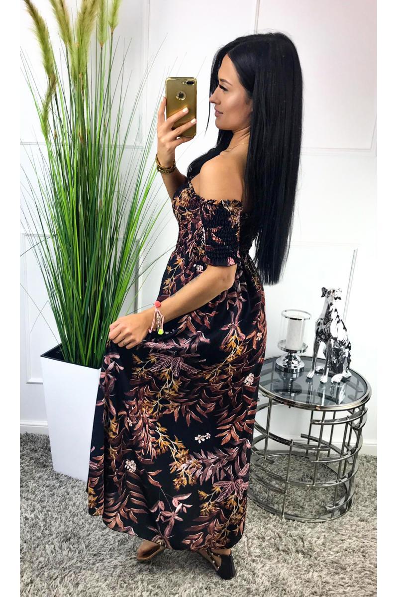 6c157184eec96 Dlhé dámske šaty čiernej farby s farebnou kvetovanou potlačou