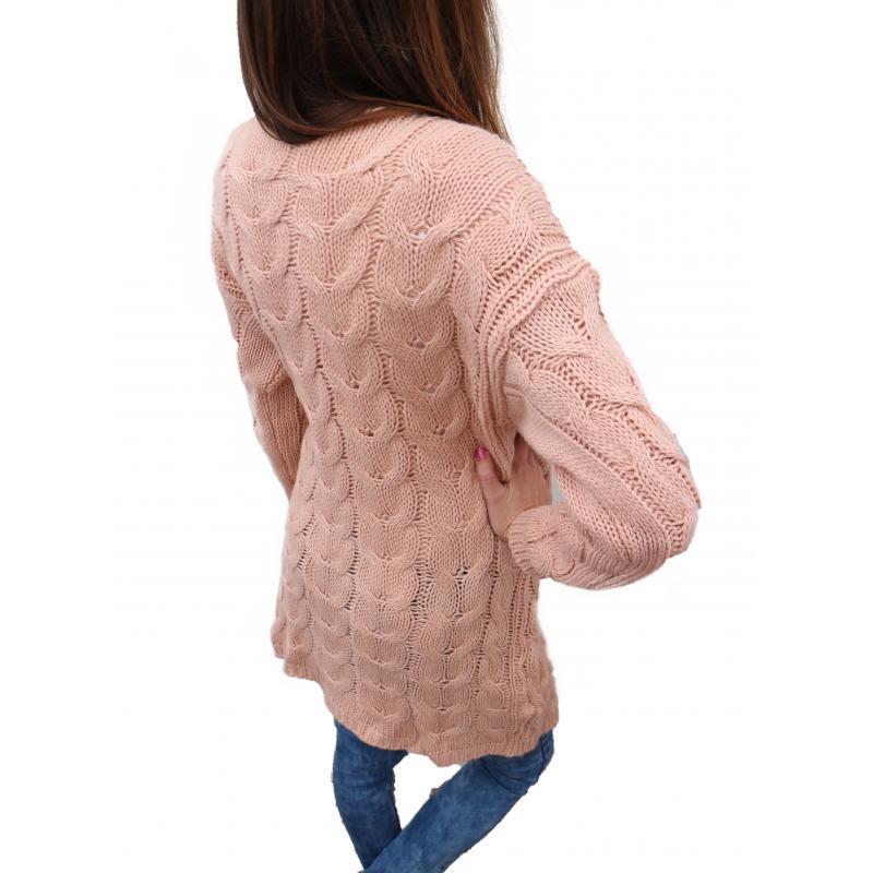 589f76dd2103 Staro ružový vlnený kardigán na bežné nosenie