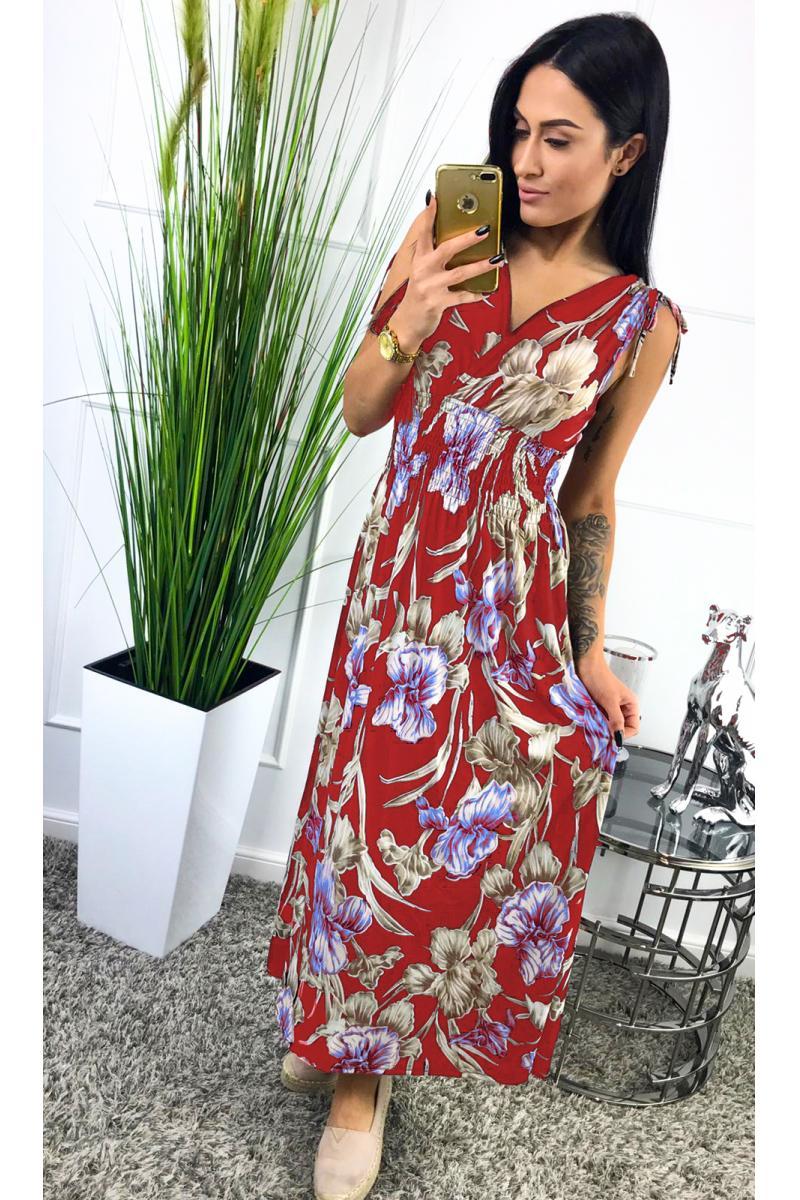 cf6e682a35ac novinka Dlhé červené kvietkované šaty bez rukáva