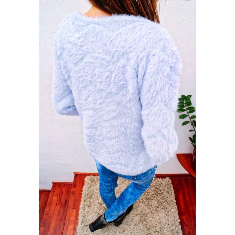 a0350cd4c0ad Svetlo modrý ženský chlpatý sveter