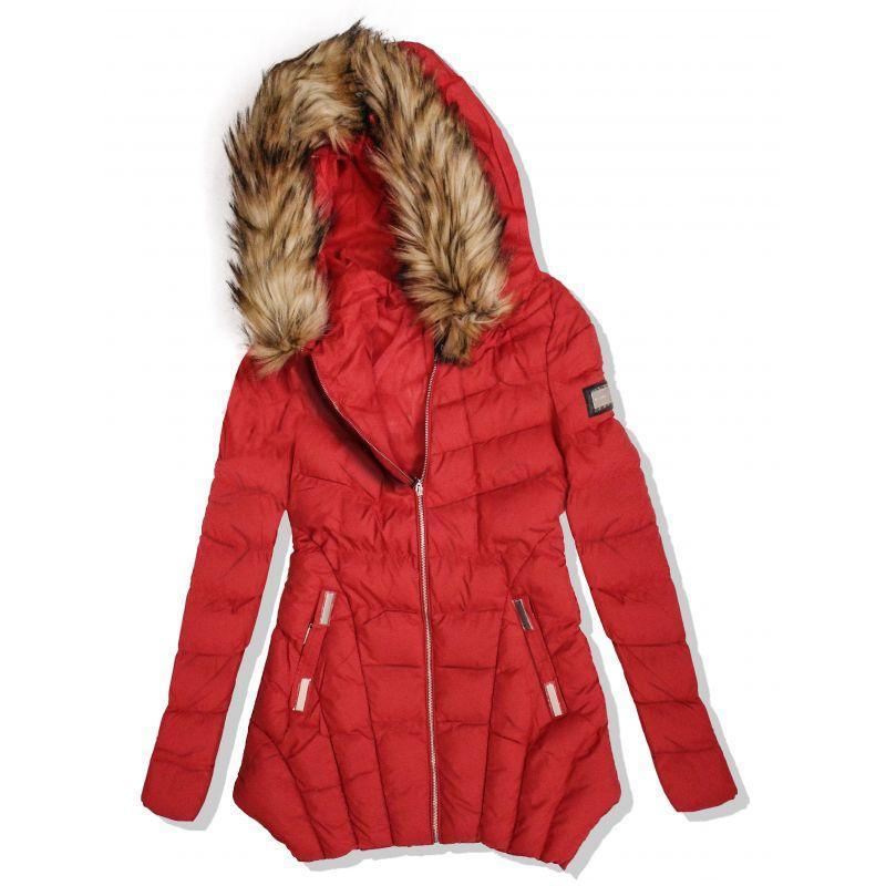 7eb3a2e14b akcia Dámska dlhá červená bunda s kapucňou