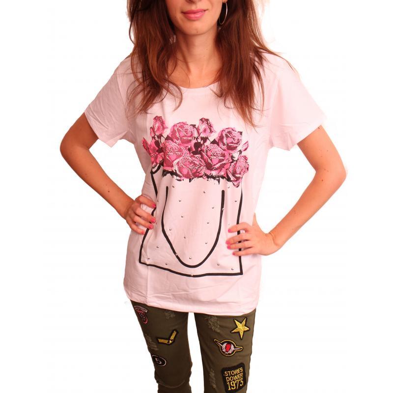 98ce2158e07a Biele dámske tričko s potlačou s krátkym rukávom