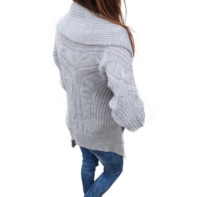 75a5d8ad6e68 Sivý dlhý trendy vlnený sveter