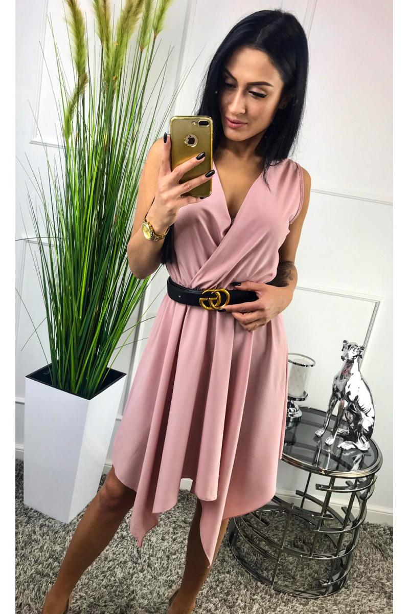 f793d36c911e novinka Štýlové dámske šaty v ružovej farbe
