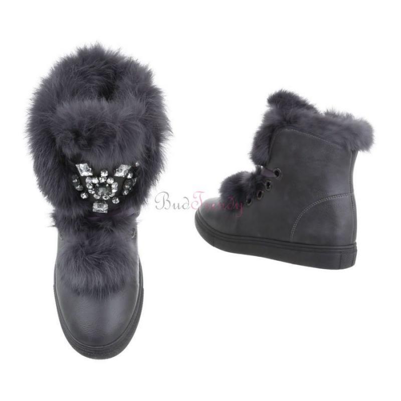 bb608227f73f Elegantné sivé zateplené dámske topánky na bežné nosenie