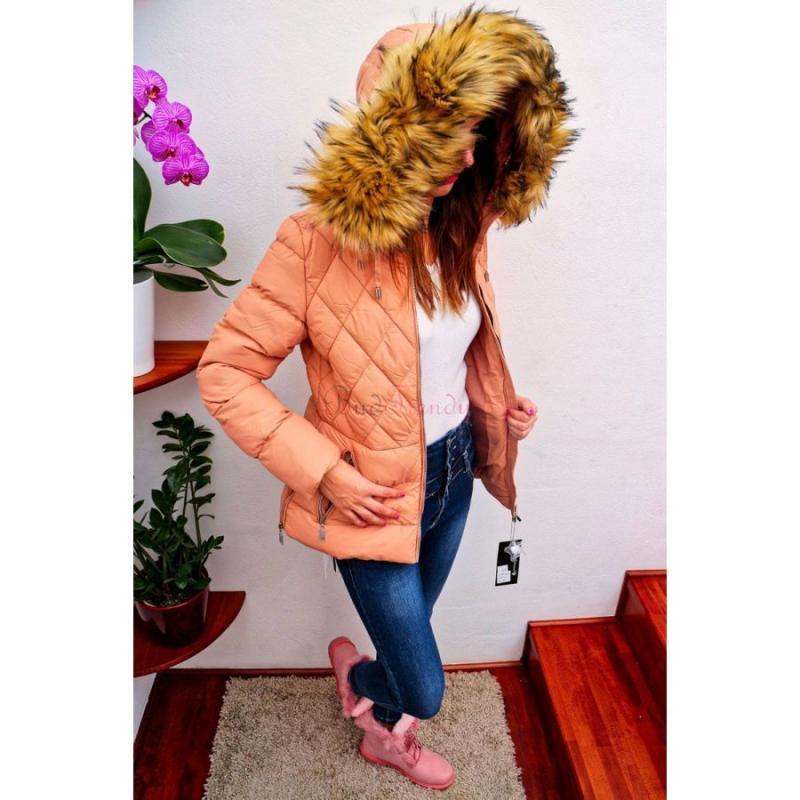 a9152d5bd akcia Marhuľová dámska zimná bunda s kožušinou