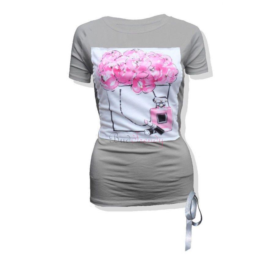 1007674f2daf Sivé dámske tričko s potlačou a mašľou