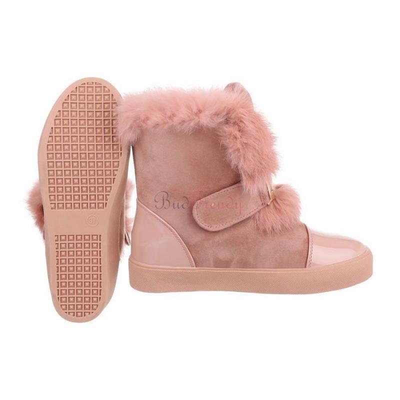 70ff1e637400 akcia Ružové zateplené dámske topánky s kožušinou na zimu