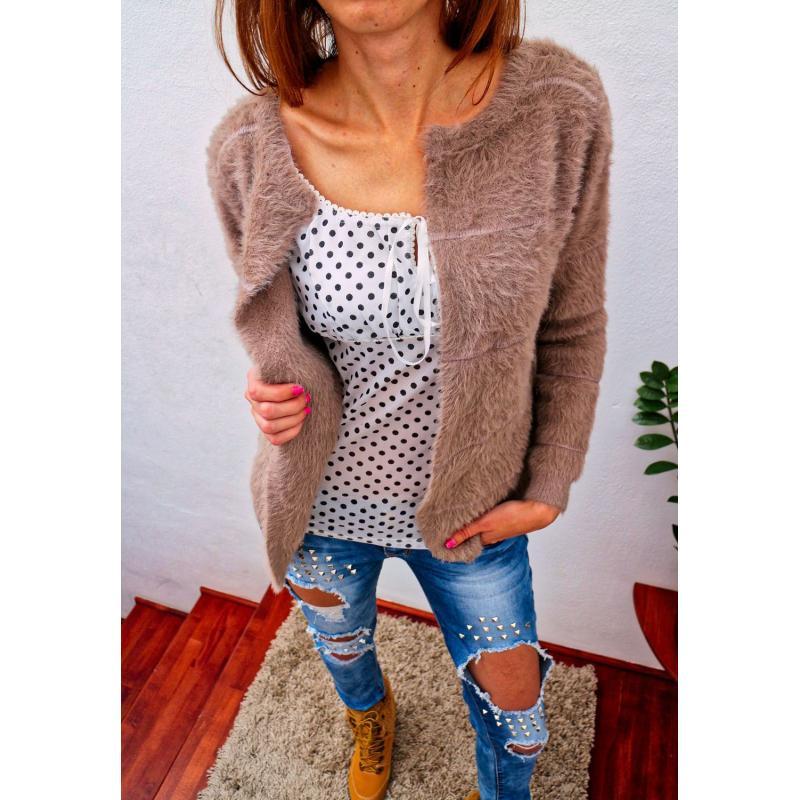 41e9e52485b9 Hnedý moderný jednofarebný chlpatý sveter