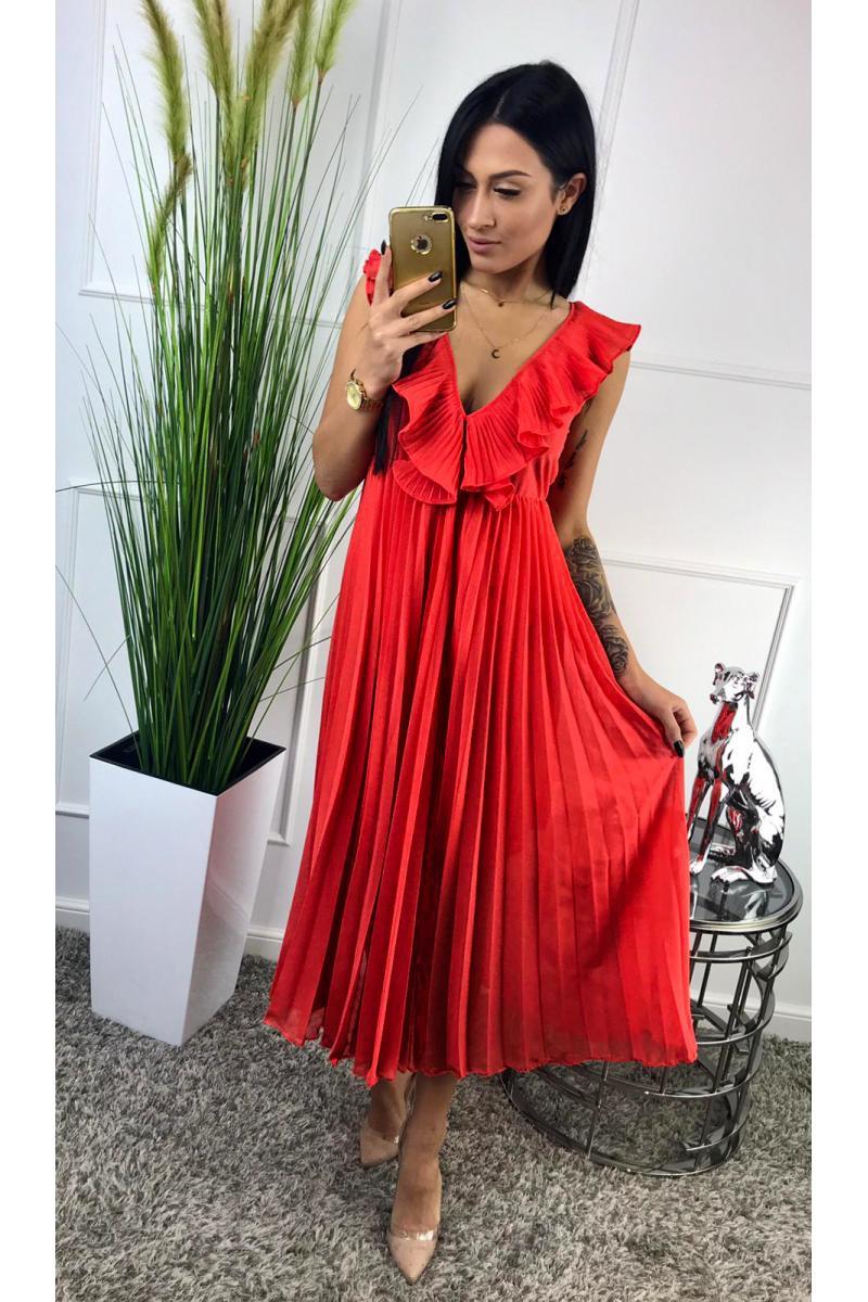 57efb294d077 novinka Dlhé červené dámske šaty bez rukáva