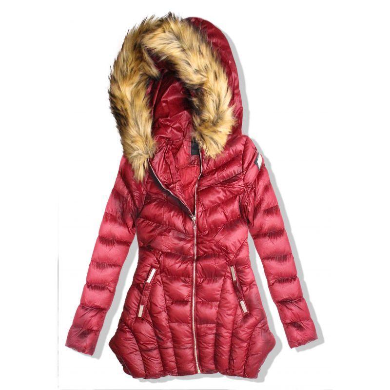 5ffaeb7bfd akcia Dámska dlhá bordová bunda s kapucňou