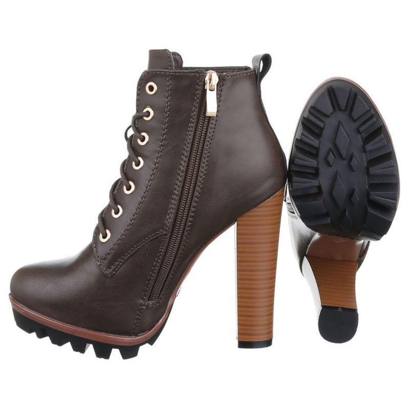 e08aa12faf13 Hnedé členkové topánky na vysokom podpätku