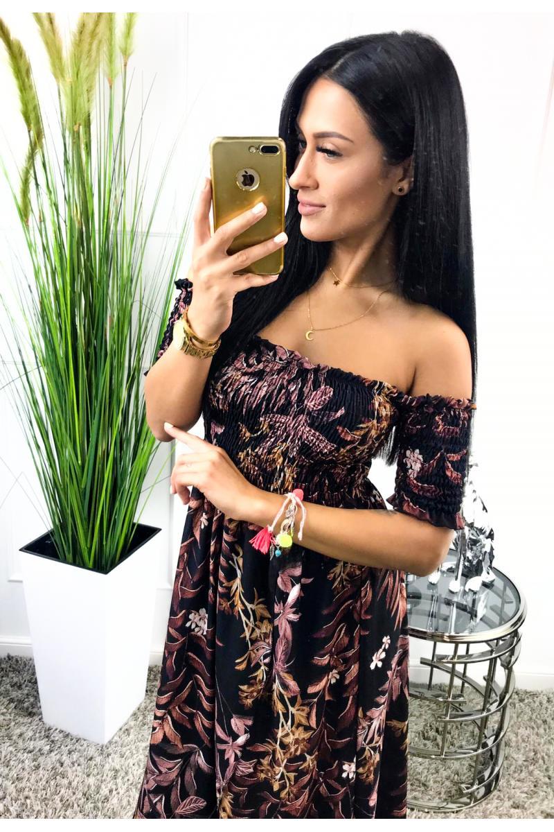 4e9565a6b novinka Dlhé dámske šaty čiernej farby s farebnou kvetovanou potlačou