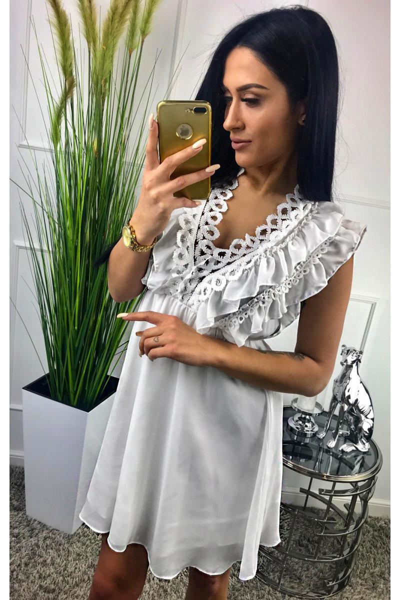 69450af6362e novinka Krátke letné biele šaty bez rukávov