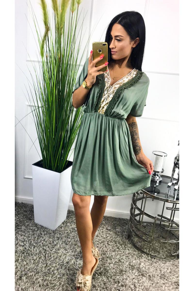 5eb2070a9 novinka Krátke zelené šaty s krátkym rukávom