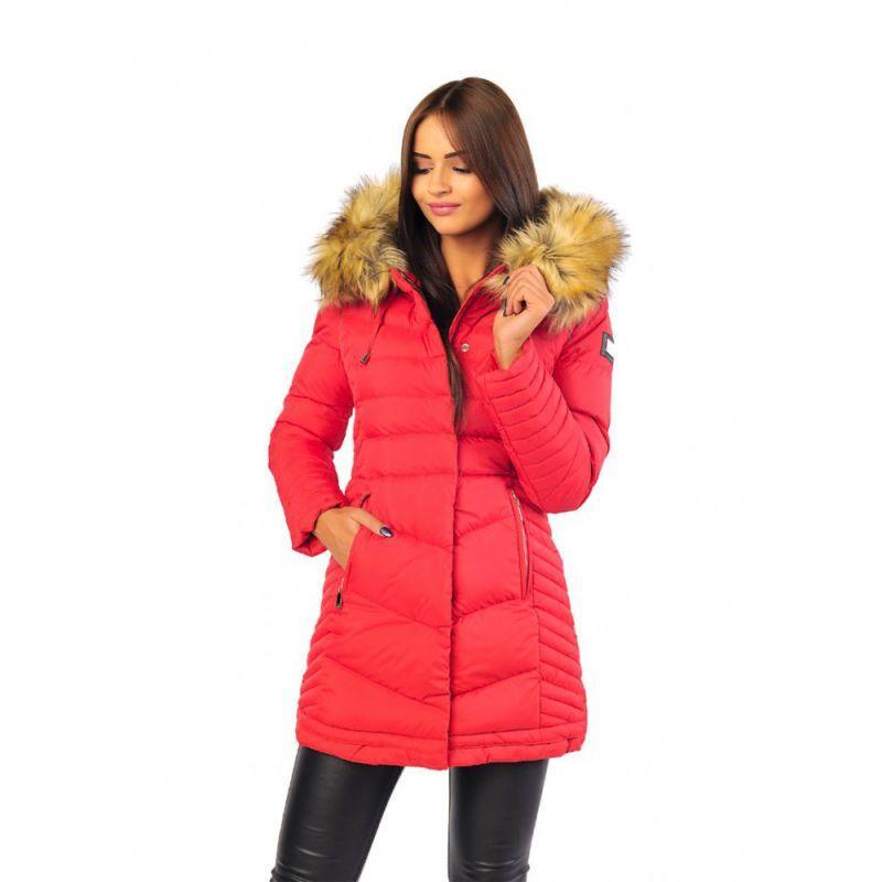 ce6a8fbf5e08 akcia Dlhá červená dámska zimná bunda s kapucňou a kožušinou