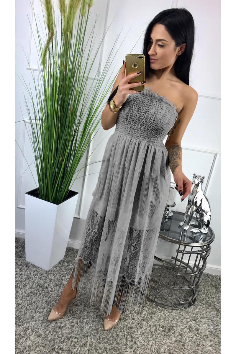 9fffae5c18dc novinka Dlhé šaty ukončené strapcami v sivej farbe